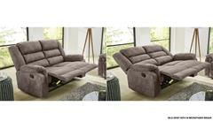 Sofa Cleveland Sessel Relaxsessel 2-Sitzer mit Funktion Vintage grau braun 167