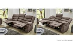 Sofa Cleveland Sessel Relaxsessel 3-Sitzer mit Funktion Vintage grau braun 220