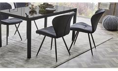 Stuhl 2er Set Düren Esszimmerstuhl Sessel in Vintage anthrazit und schwarz