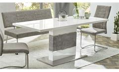 Tischgruppe Carlos Keras Turin Bank Stuhl Esstisch Vintage grau weiß Hochglanz