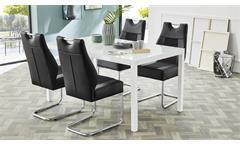Tischgruppe NICKY TIMBAS Schwingstuhl Esstisch in schwarz und weiß