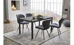 Tischgruppe Düren Timbas Esszimmer Schwingstuhl Esstisch anthrazit und schwarz