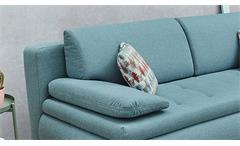 Schlafsofa Pepe Funktionssofa Sofa Couch in Stoff türkis inkl. Bettkasten Kissen