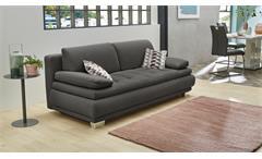 Schlafsofa Pepe Funktionssofa Sofa Couch Stoff dunkelgrau mit Bettkasten Kissen