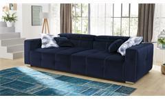 Big Sofa Trento Megasofa in Stoff samtweich dark-blue Kopfteilverstellung Kissen