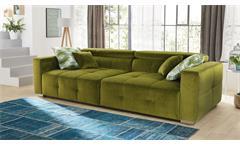 Big Sofa Trento Megasofa Stoff samtweich farn-green Kopfteilverstellung Kissen