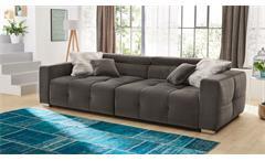 Big Sofa Trento Megasofa Stoff samtweich grau inkl. Kopfteilverstellung Kissen