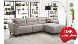 Ecksofa Wohnlandschaft Catania Sofa Stoff beige motorische Relaxfunktion und USB