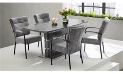 Esstisch ausziehbar Glas grau marmoriert Joana Küchentisch Esszimmer 160x90 cm