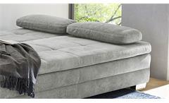 Schlafsofa Dauerschläfer Sofabett Lindau Microfaser grau mit Kaltschaum Topper