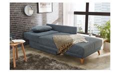 Polsterliege mit Bettkasten Ottomane Recamiere Rico Stoff blau Federkern 92x152