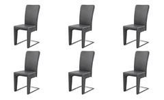 Schwingstuhl 6er Set Stuhl Esszimmerstuhl Freischwinger Haltern in vintage grau