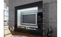 Medienwand Olli TV Wohnwand Anbauwand Mediacenter mit Front in hochglanz weiß