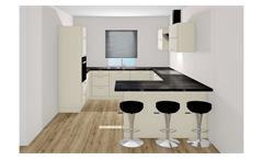 U-Küche STAR magnolia Hochglanz und Beton dunkel