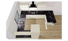 U Küche Einbauküche Küchenzeile Star magnolia Hochglanz und Beton dunkel