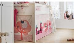 Hochbett LITTLE PRINCESS mit Spielvorhang in Kiefer massiv whitewash