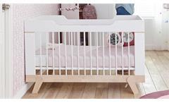 Babybett LIFE TIME Gitterbett in Birke massiv und weiß umbaubar