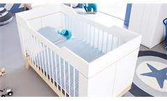 Babybett Life Time Gitterbett Kinderbett in Birke Natur und weiß umbaubar