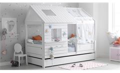 Kinderbett Hütte Low Silversparkle Spielbett in Kiefer massiv whitewash