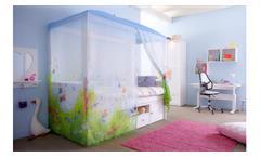 Himmelbett BUTTERFLY LOVE Kinderbett mit Himmel in Kiefer whitewash
