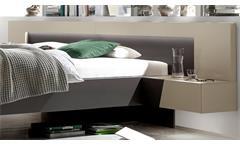 Schlafzimmer Slash Set Kleiderschrank Bett Nakos Lack Sahara und Schiefer grau