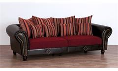 Big Sofa Megasofa Couch Carlos antik dunkelbraun Stoff rot gestreift mit Kissen