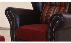 Ohrensessel Corin Sessel Relaxsessel antik dunkel braun und rot gestreift