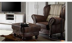Ohrensessel Corin Sessel Relaxsessel antik dunkel braun und beige gestreift