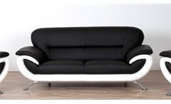 Sofa EVITA 3-Sitzer Bezug schwarz und weiß mit Nosagfederung 205 cm