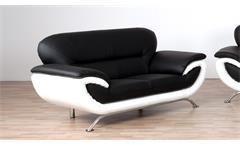 Sofa EVITA 2-Sitzer Bezug schwarz und weiß mit Nosagfederung 165 cm