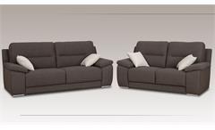 Sofagarnitur Toledo 3-2 Garnitur in Stoff grau inkl. Nosagfederung und 4 Kissen