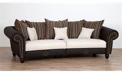 Big Sofa SANTANA dunkelbraun beige mit Nosagfederung und Kissen 272 cm