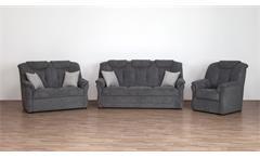 Sofagarnitur Linz Sofa Sessel grau Federkern mit Kissen