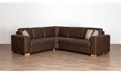 Ecksofa Wohnlandschaft Sofa in braun mit Kaltschaum und Kissen Comas 237x275 cm