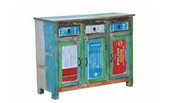 Kommode 2 Coloured Anrichte Aufbewahrung recyceltes Massivholz Metall mehrfarbig