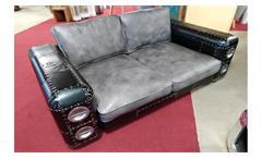 Sofa GRIPE Designsofa Vintage Leder grau silber und schwarz Blech