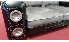 Sofa Gripe Ledersofa Designsofa 2-Sitzer Vintage Leder grau silber schwarz Blech