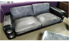 Sofa GRIPE Dreisitzer Vintage Leder grau silber und schwarz Blech