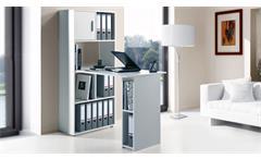 Regal Maja 4012 Aktenregal mit PC-Arbeitsplatz Schreibtisch in weiß