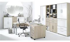 Büroprogramm Maja System 1209 Set Büroeinrichtung Sonoma Eiche weiß Hochglanz