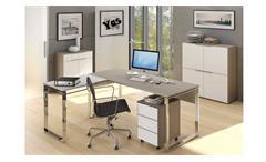 Büromöbel Set YES 6-teilig Weißglas und Glas Sand matt