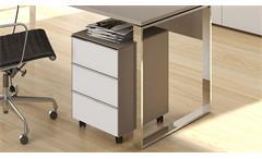 Büromöbel Set Yas Weiißglas Glas sand matt Schreibtisch Aktenschrank Rollcontainer
