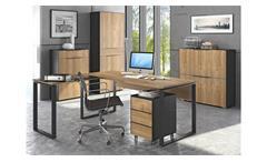 Büroset 1 Büromöbel Officemöbel 7-Teilig in Eiche Riviera und anthrazit Yolo