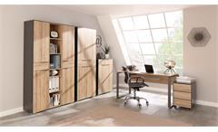 Büroset 3 Büromöbel Officemöbel 5-Teilig in Eiche Riviera und anthrazit Yolo