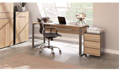 Büroset 2 Büromöbel Officemöbel 6-Teilig in Eiche Riviera und anthrazit Yolo