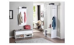 Garderobenset Flurmöbel Spiegel Paneel Sitzbank Kissen in weiß Hochglanz Check