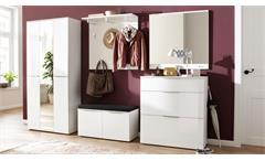 Komplettgarderobe Garderobenset Front Weißglas weiß matt 5-teilig Trend 1