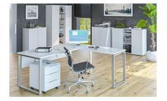 Rollcontainer Bürocontainer Büroschrank Trendo weiß matt Weißglas mit Holztop