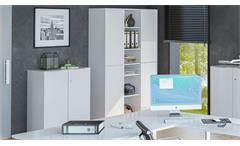 Aktenschrank TRENDO Büroschrank weiß matt Weißglas Chrom