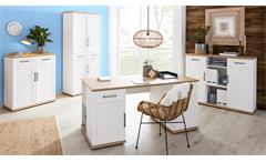 Büro-Set VILLO Arbeitszimmer 4-tlg weiß matt Asteiche Dekor